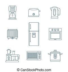 dark outline various kitchen devices set