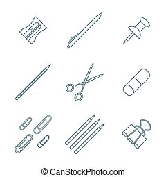 dark outline various stationery icons set