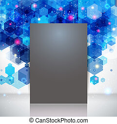 Dark page layout for Your business presentation, blue backdrop. Abstract geometric background with glitter. Vector image.