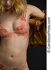 dark passion - picture of sexy girl in orange lingerie over...
