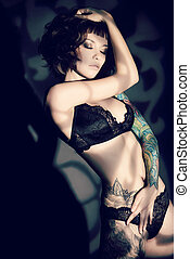dark passion - Stunning young woman alluring in sexual...