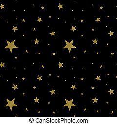 Dark pattern with gold stars on black background