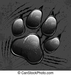 Dark paw print and scratches - Dark animal paw print and...