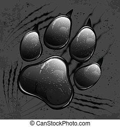 Dark paw print and scratches - Dark animal paw print and...