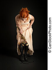 bridesmaid - dark picture of surreal bridesmaid with dead...