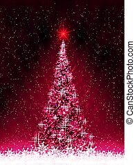 Dark pink card with shiny Christmas tree silhouettes of ribbons and white snowflakes.