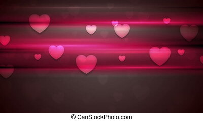 Dark pink hearts and glowing stripes motion design