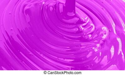 Dark Pink Paint Pouring - Dark pink paint pouring closeup...
