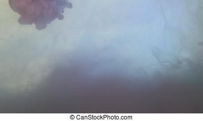 Dark pink smoke wisp drops against white background. Pink-purple color of smoke splatter on white background. Purple smoke close up