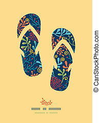 Dark plants flip flops decor pattern background
