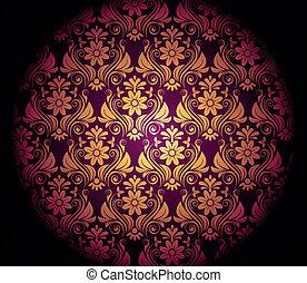Dark purple background with gold