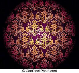 Dark purple background with gold