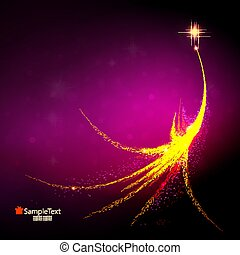 Christmas background with the silhouette of an abstract Christmas tree in golden color with glitter.
