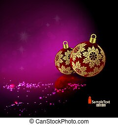Christmas card with a silhouette of Christmas balls of red shade with golden snowflakes.