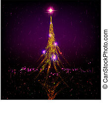 Dark purple Christmas card with shiny golden Christmas tree.