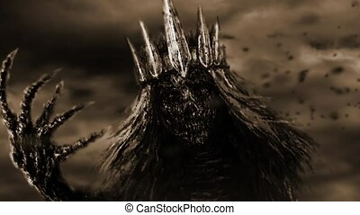 Dark queen with crown pulls bony hand. Fantasy animation....