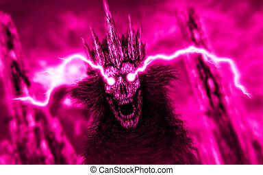 Dark queen with lightning from eyes. Pink color. - Dark...