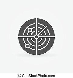 Dark radar icon or logo - vector sonar concept symbol