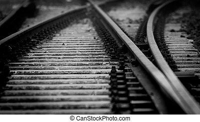 Dark railway closeup