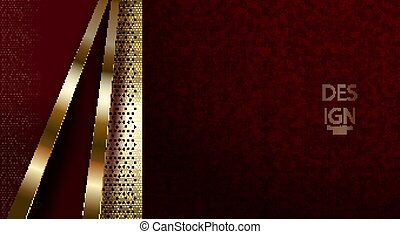 Dark red abstract textural design with a gold-colored mesh grid