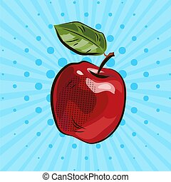 Dark red apple with green leaf on blue background, food, eco, illustration, hand drawing, pop art, dots, cartoon