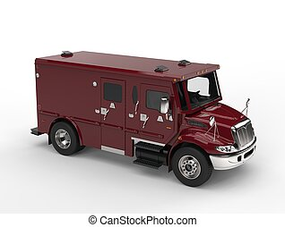 Dark red armored transport car - top down view