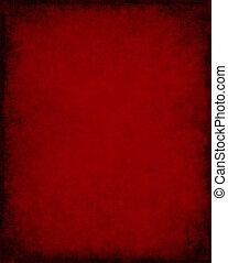 An old, vintage red paper background with dark grunge patterns and vignette.