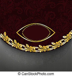 dark red background with a gilded frame