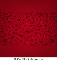 Dark Red Background With Food Icons