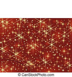 Dark red background with glowing and sparkling stars.