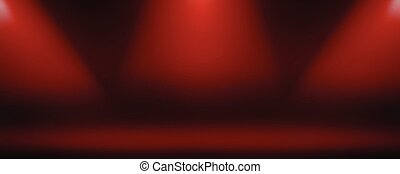 Dark red background with lamp lights.