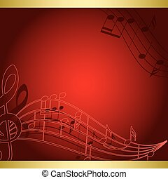 dark red background with music notes - vector musical flyer