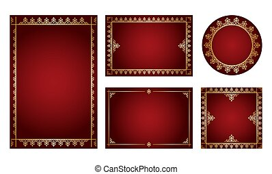 dark red backgrounds with gold ornamental frames - vector set