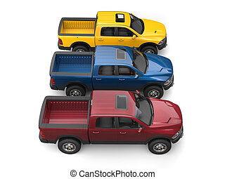 Dark red, blue and yellow modern pick-up trucks - top down side view