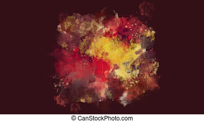 Dark red, brown and yellow watercolor blot appears on the...