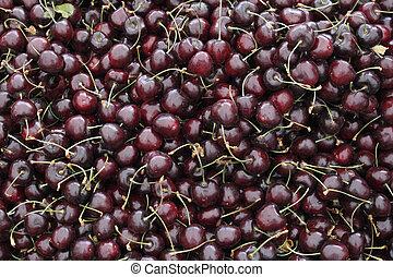 Dark Red Cherries in a Market Display