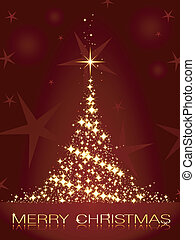 Dark red Christmas card with shining golden Christmas tree -...
