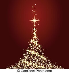 Dark red Christmas card with shining golden Christmas tree