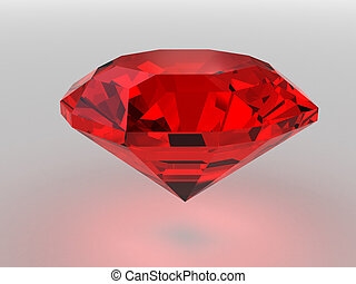 Dark-red gemstone rendered with soft shadows
