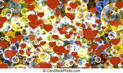 dark red hearts with gold and blue bubbles floating on black screen with white star theme valentine day and love motion