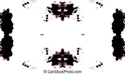 dark red ink on white background, the effect of a kolleidoscope on the ink.. as an alpha channel use luma matte 1