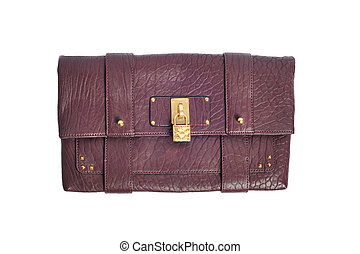 dark red luxury female handbag with golden lock isolated on white background