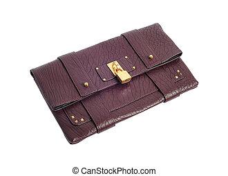 dark red luxury female handbag with golden lock isolated on white background