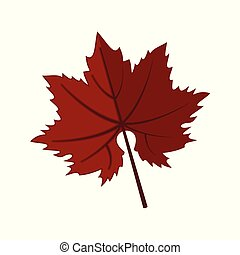 Dark Red Maple Leaf Vector Illustration Graphic