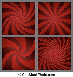 Dark red spiral ray and starburst background set
