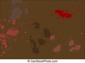 Dark Red Splats on a Brown background