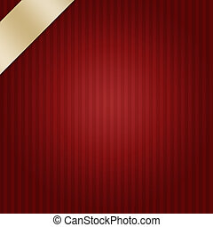 dark red stripes background with elegant gold ribbon layout design for Christmas or valentine's day