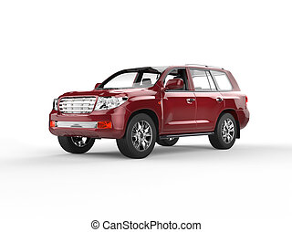 Dark Red SUV isolated on white