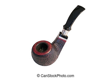 Dark red tobacco pipe isolated on white background