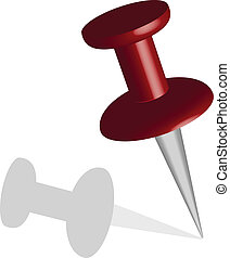 Dark red vector pushpin or stickpin with shadow.